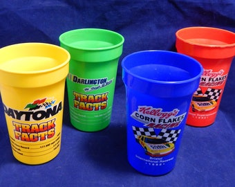 1992 NASCAR Track Facts Colorful Plastic Drink Cups By Kelloggs Corn Flakes- Set of 4 Glasses - Bristol, Talladega, Daytona, and Darlington