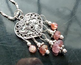 Victorian Pink Tourmaline Heart pendant necklace in sterling silver boho gypsy chandelier OOAK jewelry