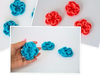 Crochet flowers, two layers flower, small crochet flowers, neon flowers, clothes embellishments, handmade flowers, Set of 3
