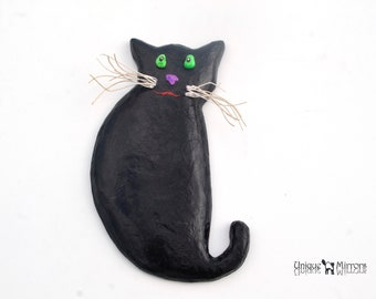 BLACK CAT Wall Hanging, Decorative Cat, Black Cat with Green Eyes & White Whiskers, Cat Art for Walls, Black Cat Sculpture, Cats Home Decor