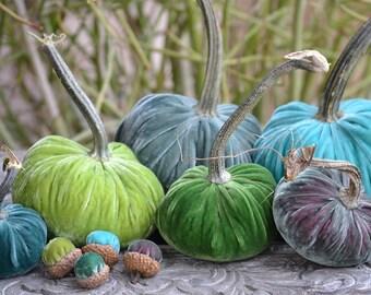 Rainforest Silk Velvet Pumpkins and Acorns with Real Pumpkin Stems