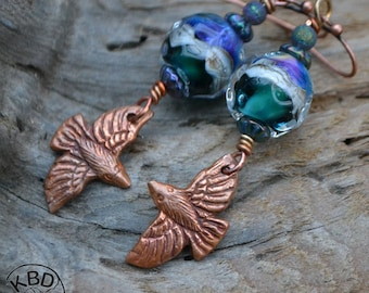 Copper and Lampwork Bead Earrings