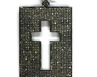 Pave diamond cross , Pave diamond Tag , Diamond Pendant , Diamond Cross , Diamond cross charm