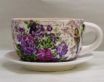 "Made To Order, Handmade Decoupage  Ceramic Tea Cup Planter, Birds, Floral 4"""