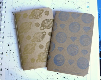 2 Pocket Planet Notebooks • Saturn and Neptune • linocut and letterpress • lined or unlined • small space notebook