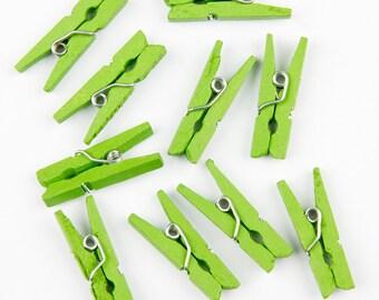 20 mini clothespins Green