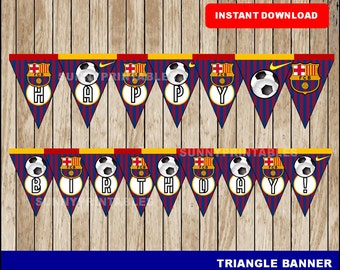 FC Barcelona triangle banner; printable FC Barcelona banner, Soccer party banner instant download