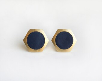 Geometric Hexagon with navy circle stud earring