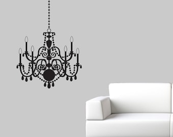 Chandelier decals etsy chandelier wall decal elegant wall sticker chandelier decal fancy wall decor aloadofball Choice Image