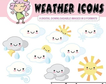 50%off Kawaii Weather Digital Clipart, downloadable weather icons, digital planning, for use with Goodnotes and digital planning or crafting