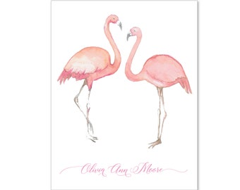 Flamingo Notecards, Custom Notecards, Hand Painted Notecards, Watercolor Notecards, Tropical Notecards, Beach Notecards, Mother's Day Gift