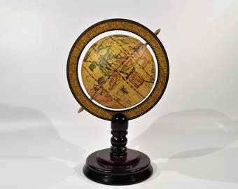 Decorative world  Globe 5'' Pedestal Standing Globe/Retro World Map Atlas/ library decor/mid century modern/ Vintage Globe