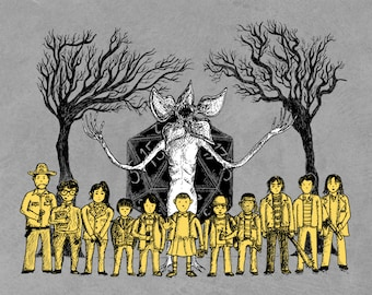 The Hawkins Tinies- Stranger Things inspired A4 art print- FREE WORLDWIDE SHIPPING