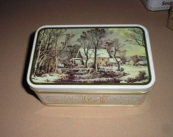 Vintage Currier-Ives tin