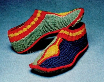 Turkish Slippers Pattern Cozy Socks Pattern Vintage 70s Knitting Pattern Knitted Shoes Pattern Slippers Aladdin Aladdin Socks Turkish Socks