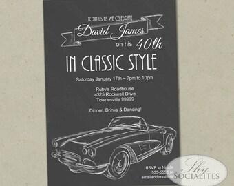 Sports Car Invitation Etsy NZ - Classic car invitations