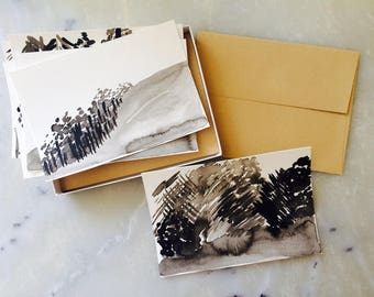 Handmade Black and Gray New Trees Notecards, Set of 6