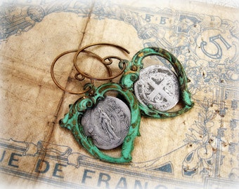 como dios one of a kind vintage assemblage earrings . patina'd hearts very vintage foreign holy medals