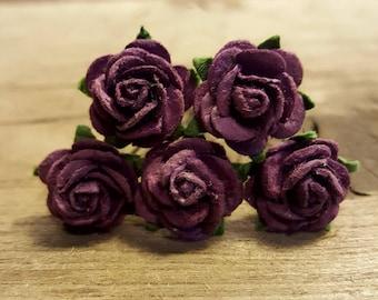 Dark Purple Rose Flower, Wedding Hair Accessories, Flower Hair Pins, Mulberry Paper Flower Hair Pins