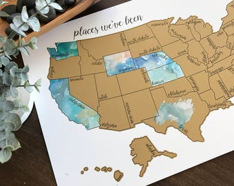 Watercolor Scratch Off Map - United States of America (USA US) - 'Dreamer'- Graduation Gift