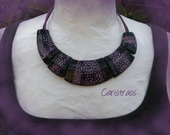 Necklace black pink and purple.