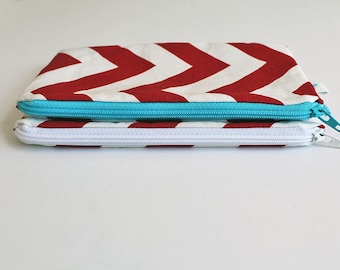 Cash envelope, system, wallet. Red zipper pouch. Purse organizer. Cosmetic, Chevron, Pencil, case, journaling supplies bag, small zip pouch