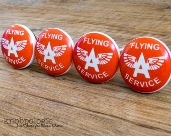 SET OF 4 - Retro Red and White Flying Ace Knob - Flying Service - Aviation Aviator Drawer Pull - Baby Boy Nursery - Ceramic Decorative Knobs
