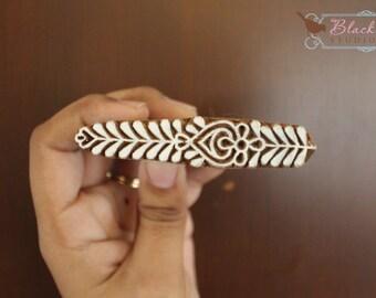 Wood Block Printing Hand Carved Indian Wood Textile Block Stamp Floral Border Motif