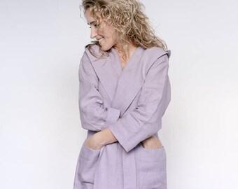Linen bathrobe, linen robe, sauna robe, hooded bathrobe, linen nightgown, organic nightgown, luxury spa robe, morning coat, Lithuanian linen