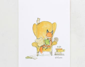 Woodland art, forest nursery, Foxy Books, giclée print, Kit Chase artwork, 5x7, 8x10, 11x14