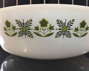 Vintage 1960s Fire-King Anchor Hocking Casserole dish - Green Floral Design made in the USA