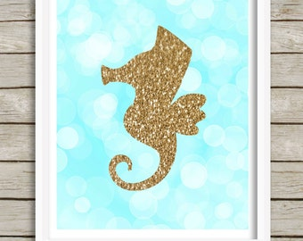 Seahorse Wall Art, Seahorse Printable, Instant Download 8x10, Baby Nursery Decor, Kids Room Decor, Teal and Gold, Nautical Beach Ocean Sea