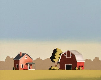 Original Painting - 12 x 12 Inches - Barn Farm - Contemporary Painting