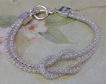 SilverSilk Brilliant Silver Love Knot Bracelet