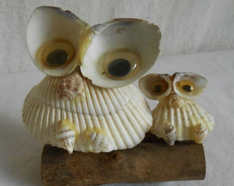 Vintage Handmade Owl Seashell Art Mama and Baby