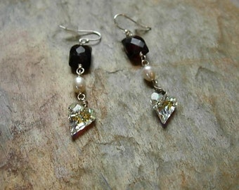 garnet and heart earrings