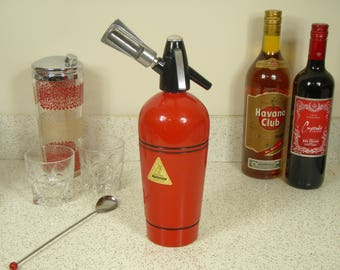 Vintage Mid Century Heimsyphon Model A Seltzer Soda Bottle - Fire Engine Red