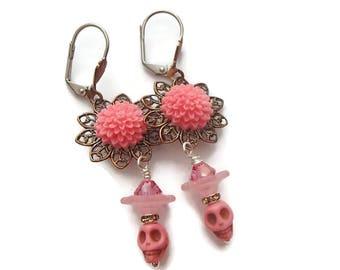 Halloween Earrings Skull Earrings Pink Skull Earrings Boho Halloween Dia de Los Muertos HH01