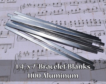 50 - 1100 Aluminum 1/4 in. x 7 in. Bracelet Cuff Blanks - Polished Metal Stamping Blanks - 14G 1100 Aluminum - Flat - Longer Cuff