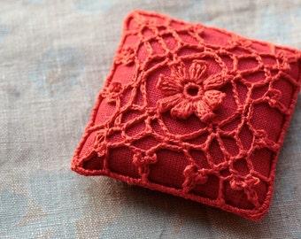 Linen  pincushion - crochet motif -- red