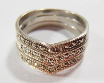 Vintage Triplet Silver 925 Rings Size 7.5