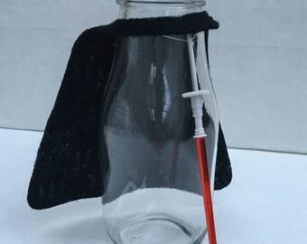 Darth Vader & Lightsaber milk bottles, Star Wars Birthday Party, Darty Vader Birthday Party, Darth Vader Party Favors, Star Wars Party favor