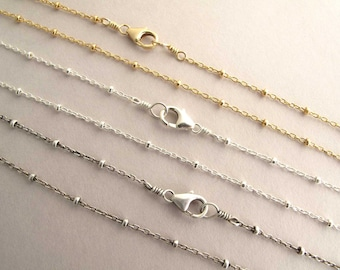 """Beaded Satellite Chain Necklace, 14k gold filled / Shiny Sterling Silver / Antiqued Silver 14"""" 16"""", 18"""", 20"""", 22"""", 24"""""""