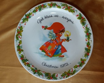 Vintage Gigi Christmas 1972 Commemorative Edition Plate American Greetings *eb