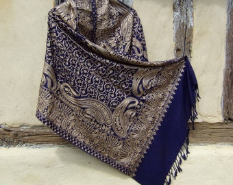 """Silver and Copper on Dark Blue Embroidered Pashmina. 100%  pure soft wool shawl/stole. 80 x 28"""". 203 x 71 cm. Kashmir."""