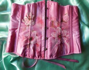 Design personnalisé fleur de cerisier sous le buste Corset Art Textile d'une taille Uk genre 12