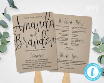 Wedding Program Fan Template, Calligraphy Script Printable Program, Instant Download, DIY Ceremony Program Fan, Kraft Paper
