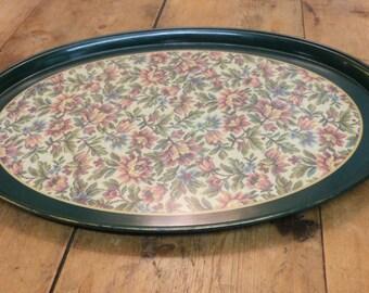 Melamine Tray with tapestry pattern centre - retro tray - vintage tray - green tray (stock#6535)