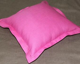 linen pillow  fuchsia color