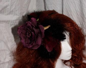 Maroon & Black Feathered Rose Fascinator